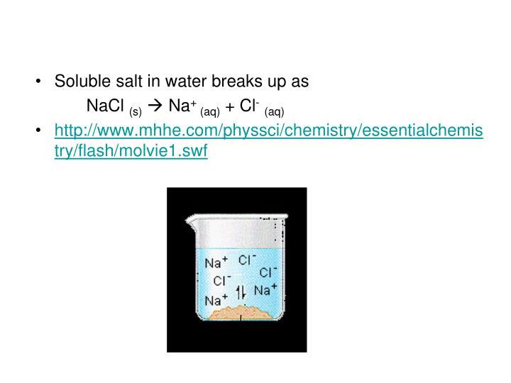 Soluble salt in water breaks up as