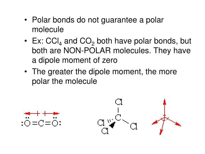 Polar bonds do not guarantee a polar molecule