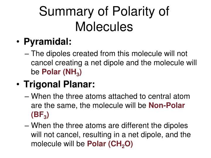 Summary of Polarity of Molecules