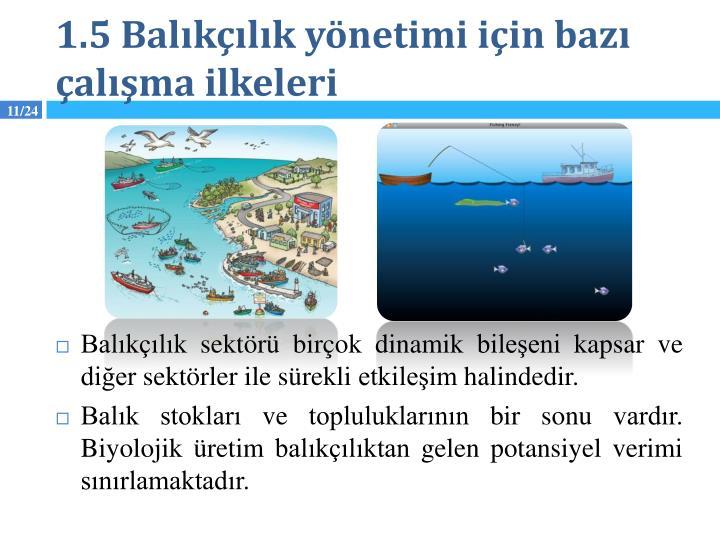 1.5 Balıkçılık yönetimi için bazı çalışma ilkeleri