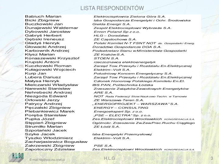 LISTA RESPONDENTÓW