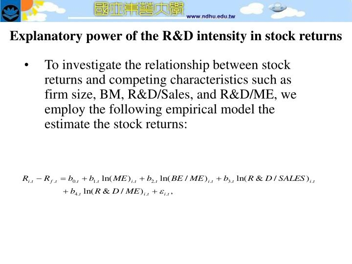 Explanatory power of the R&D intensity in stock returns