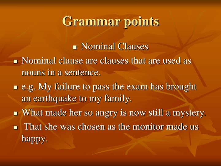 Grammar points
