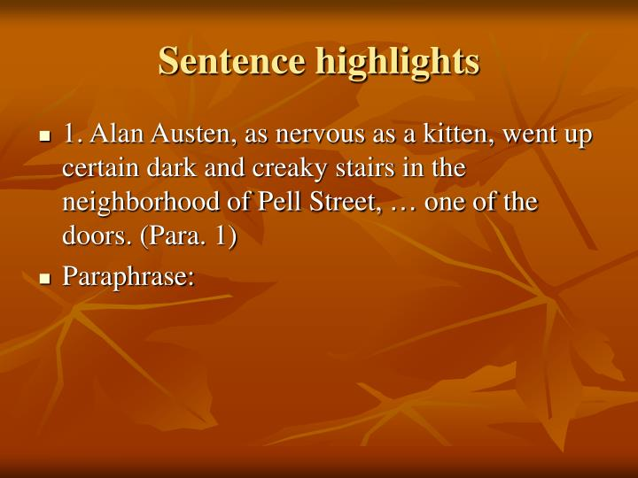 Sentence highlights