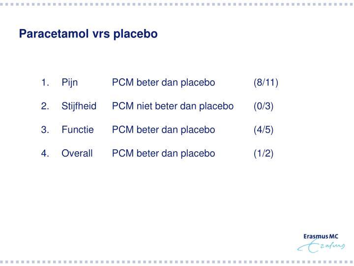 Paracetamol vrs placebo