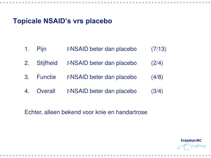 Topicale NSAID's vrs placebo