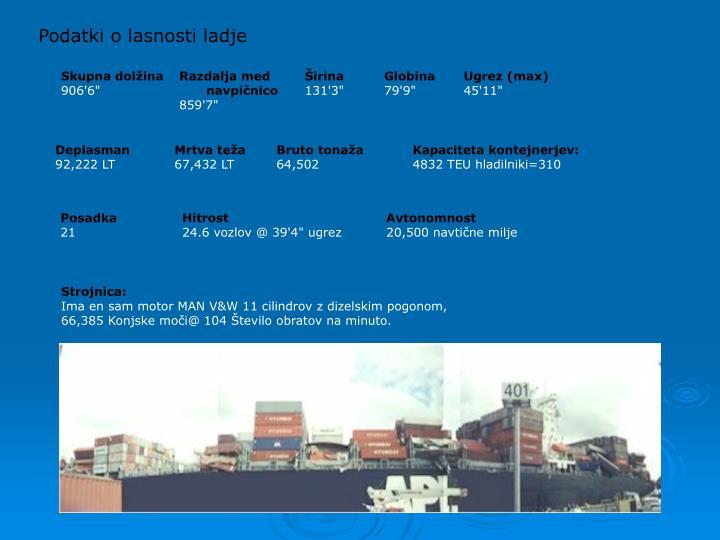 Podatki o lasnosti ladje