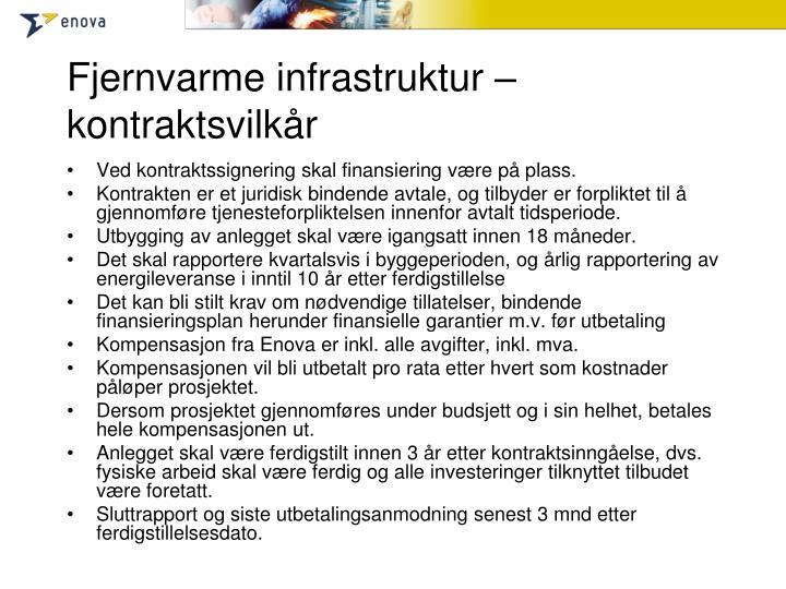 Fjernvarme infrastruktur – kontraktsvilkår