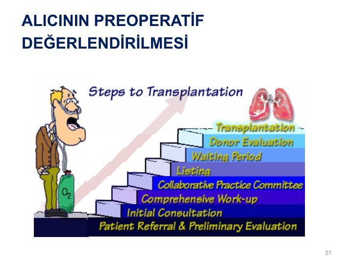 ALICININ PREOPERATİF DEĞERLENDİRİLMESİ