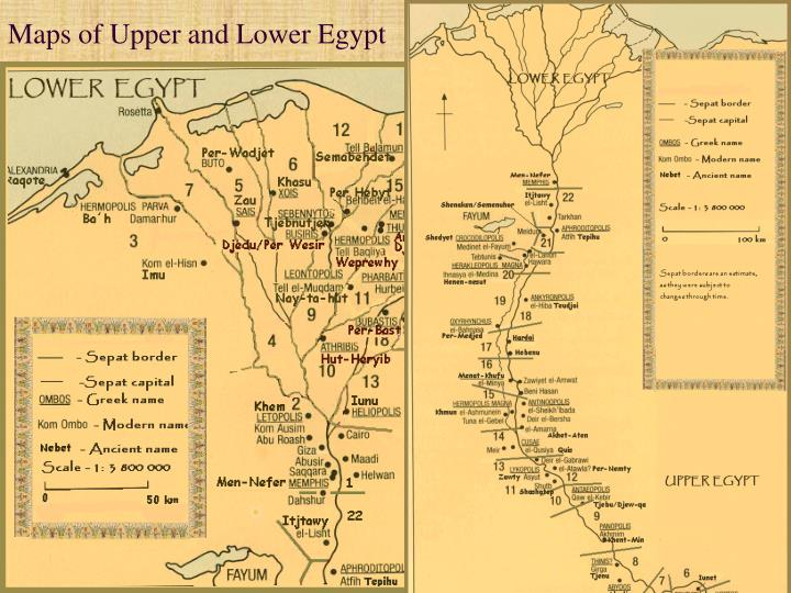 Maps of upper and lower egypt