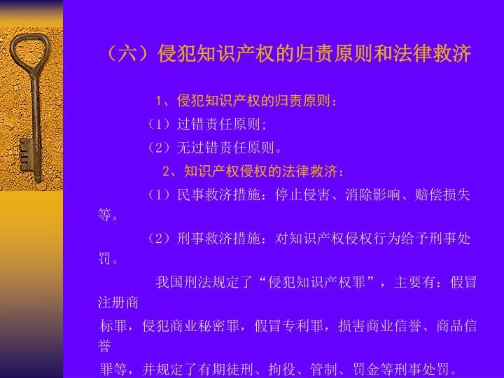 (六)侵犯知识产权的归责原则和法律救济