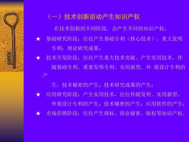 (一)技术创新活动产生知识产权