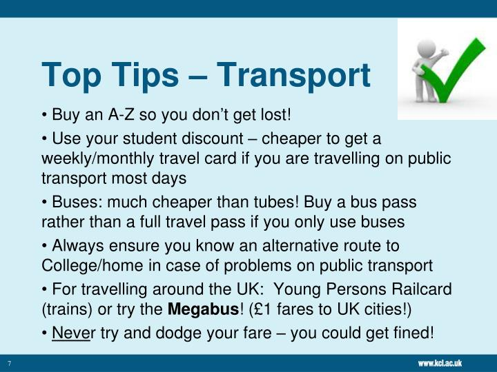 Top Tips – Transport