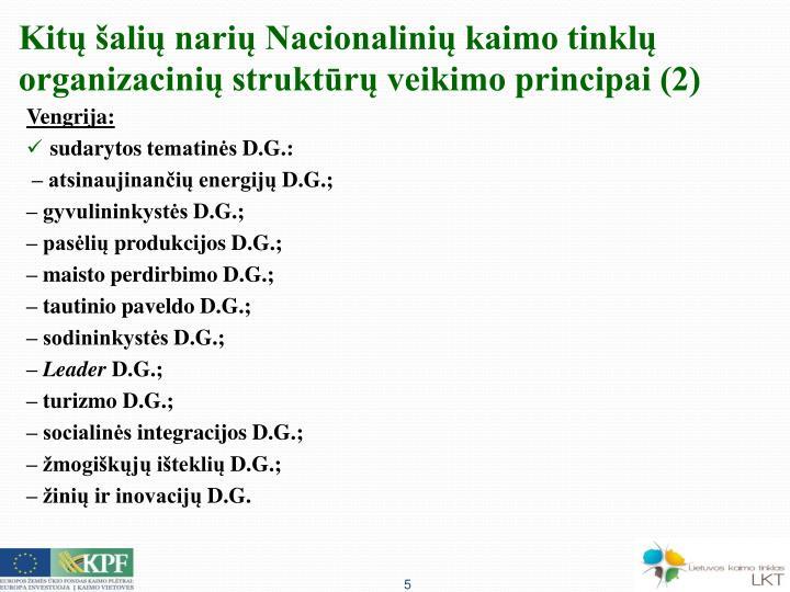 Kitų šalių narių Nacionalinių kaimo tinklų organizacinių struktūrų veikimo principai (2)