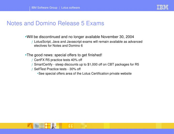 Notes and Domino Release 5 Exams