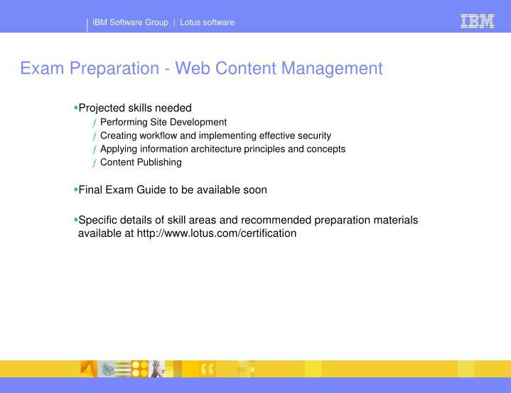Exam Preparation - Web Content Management