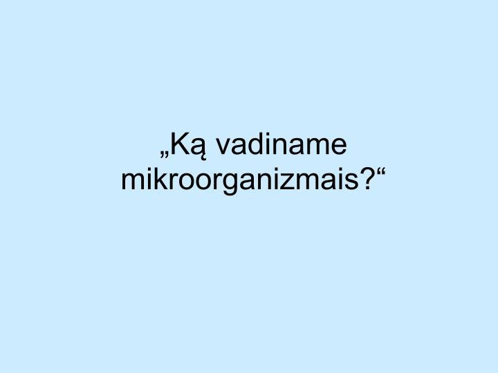 """""""Ką vadiname mikroorganizmais?"""""""