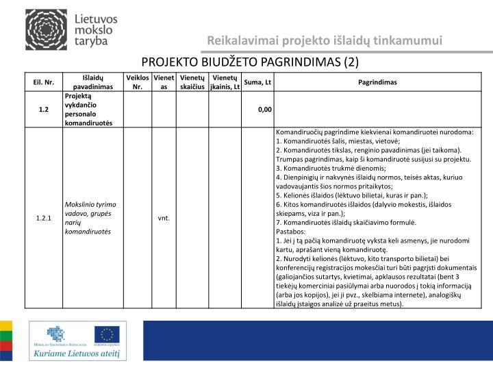 Reikalavimai projekto išlaidų tinkamumui