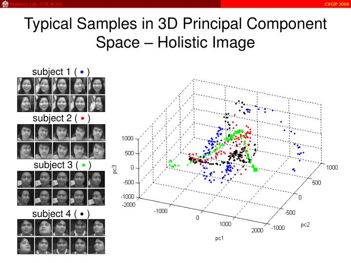 Typical Samples in 3D Principal Component Space – Holistic Image