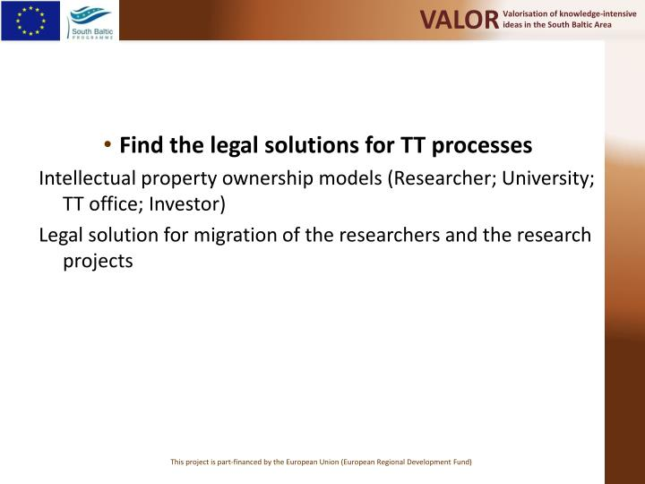 Find the legal solutions for TT processes