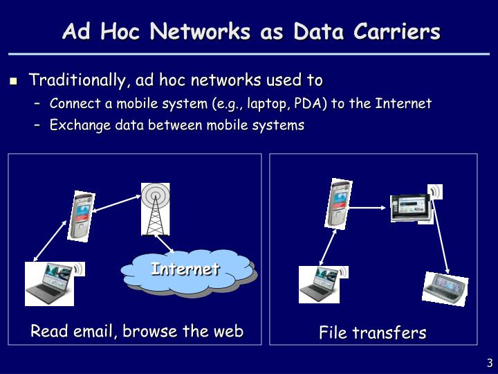 Ad hoc networks as data carriers