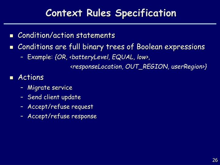 Context Rules Specification
