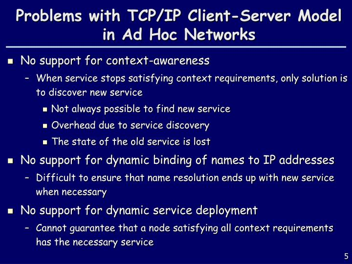 Problems with TCP/IP Client-Server Model in Ad Hoc Networks