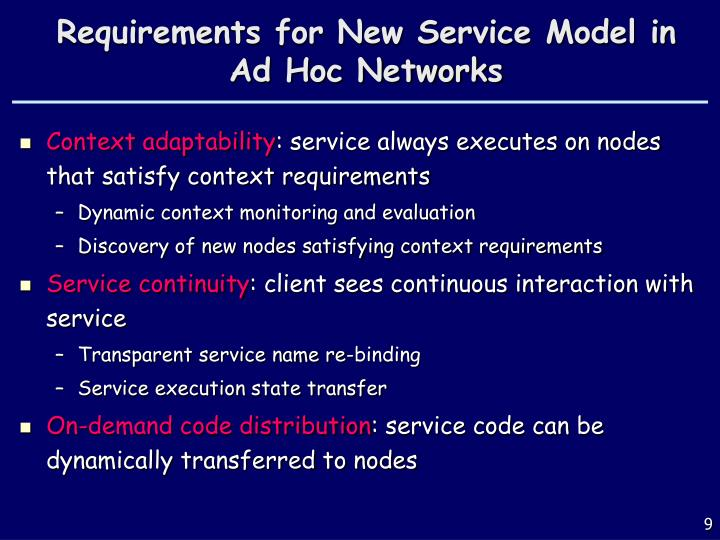 Requirements for New Service Model in Ad Hoc Networks