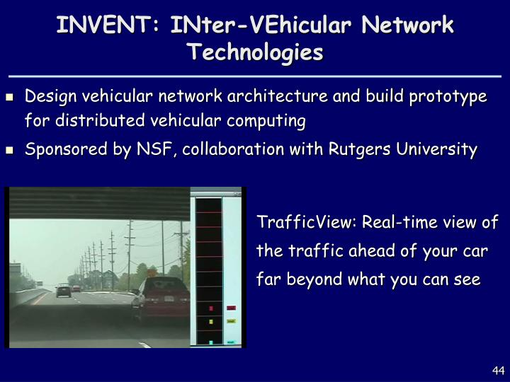 INVENT: INter-VEhicular Network Technologies