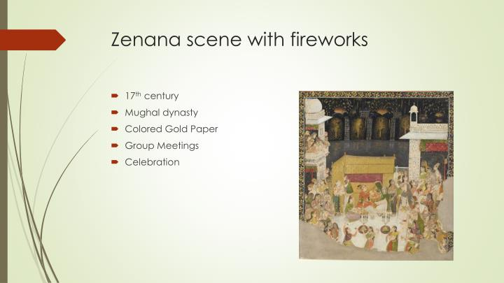 Zenana scene with fireworks