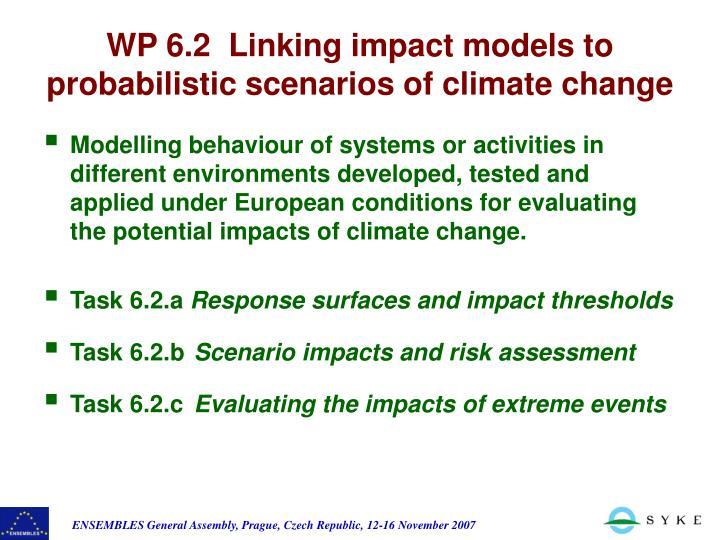 Modelling behaviour of systems or activities in  different environments developed, tested and applied under European conditions for evaluating the potential impacts of climate change.