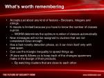 what s worth remembering