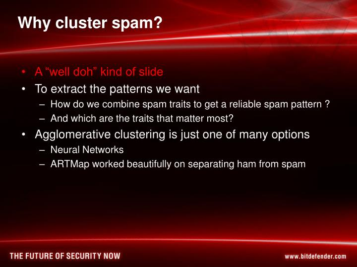 Why cluster spam?