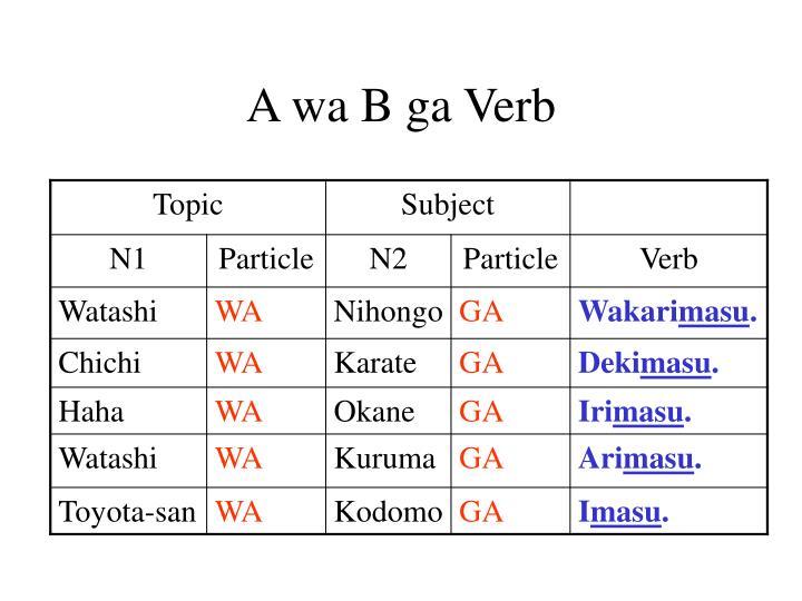 A wa B ga Verb