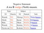 negative statement a wa b wa ga verb masen