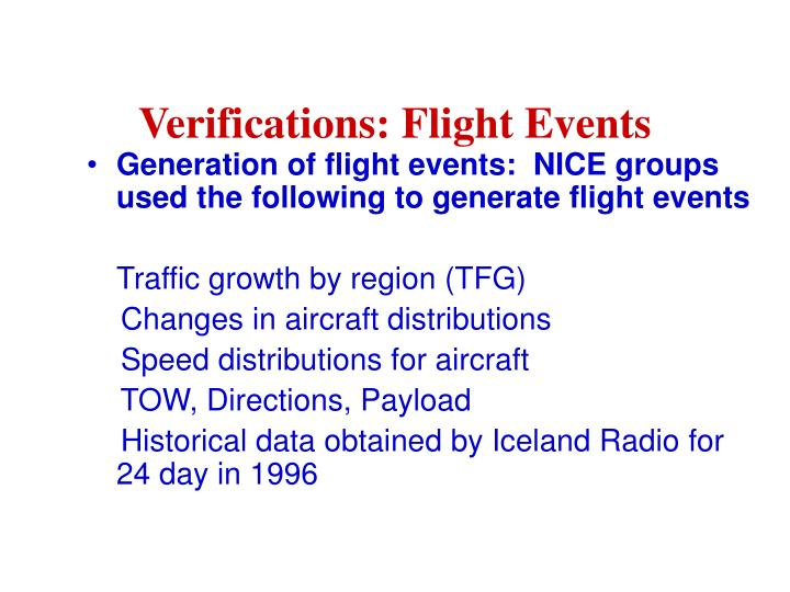 Verifications: Flight Events