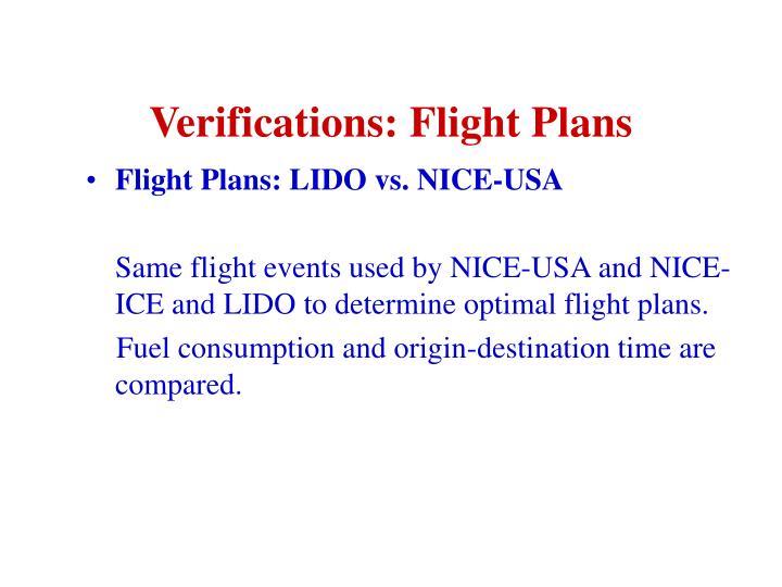 Verifications: Flight Plans