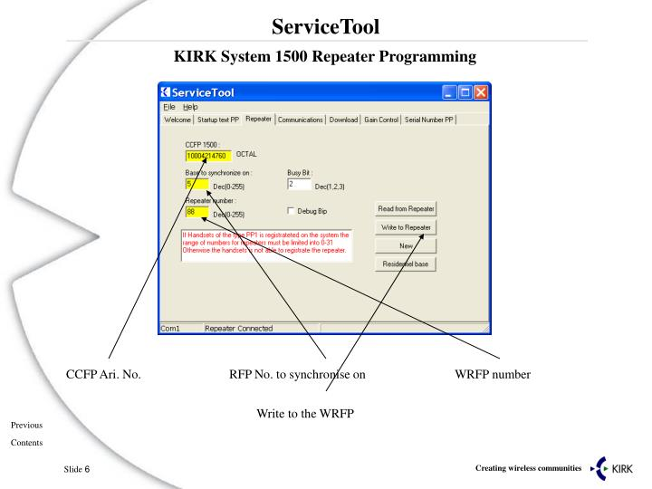 KIRK System 1500 Repeater Programming