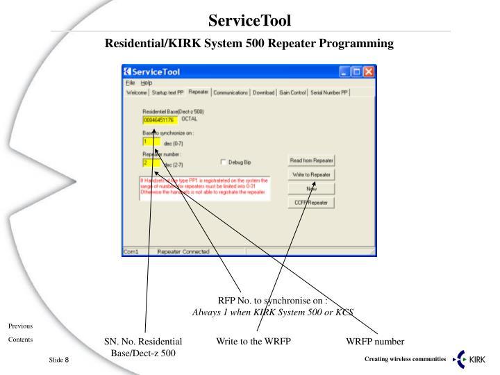 Residential/KIRK System 500 Repeater Programming