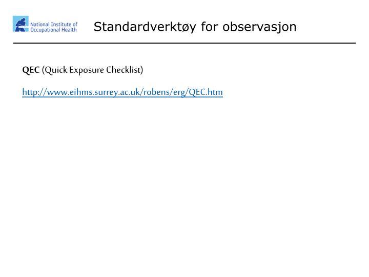 Standardverktøy for observasjon