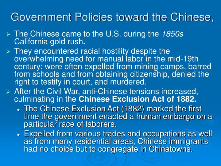 Government Policies toward the Chinese,