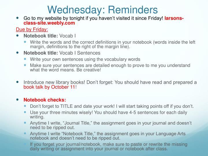 Wednesday: Reminders