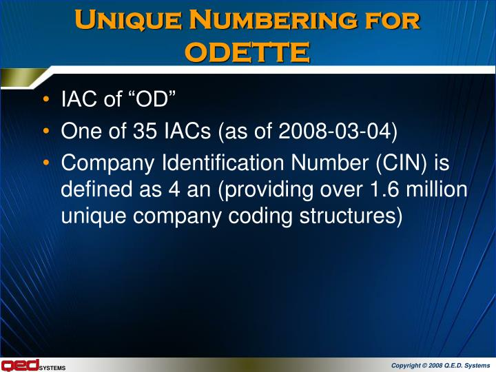 Unique Numbering for ODETTE