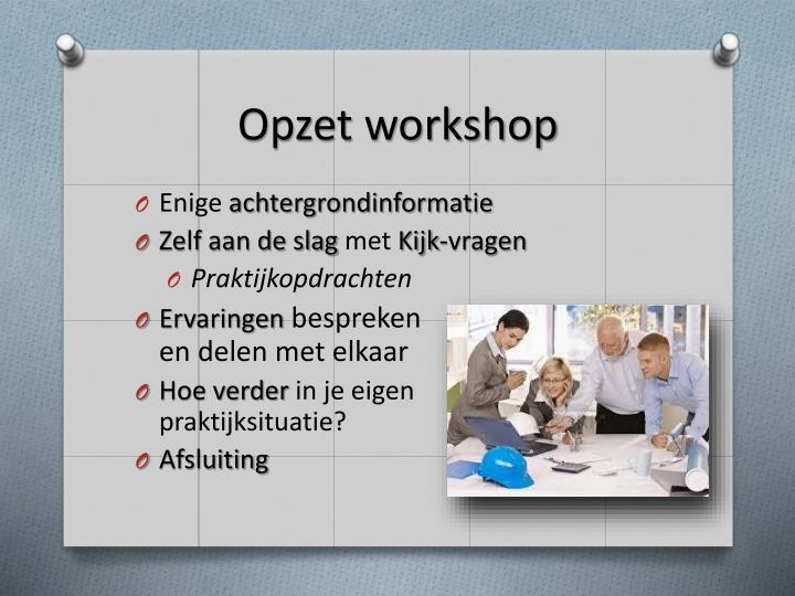 Opzet workshop