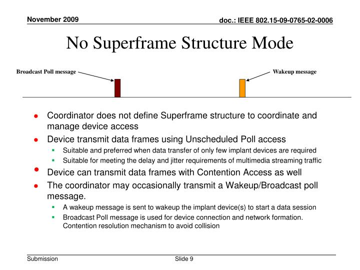 No Superframe Structure Mode
