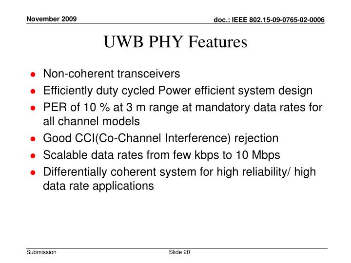 UWB PHY Features