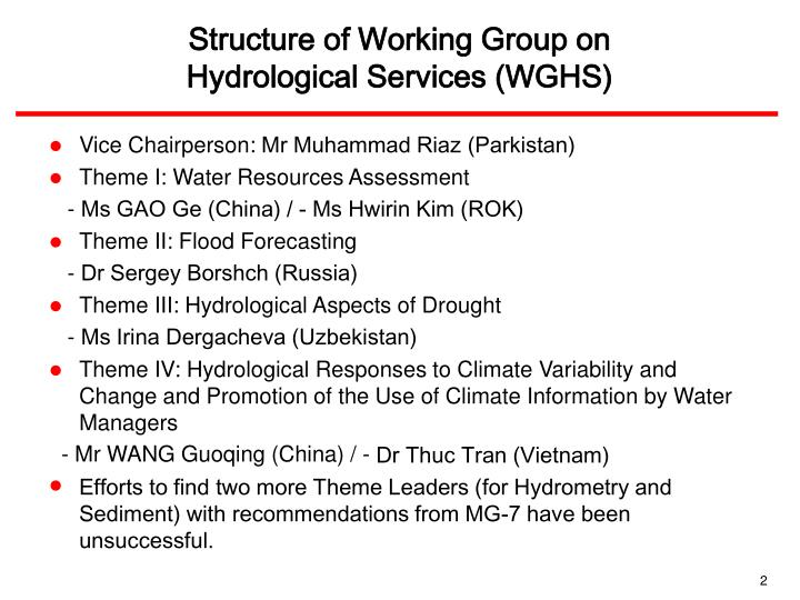 Structure of working group on hydrological services wghs