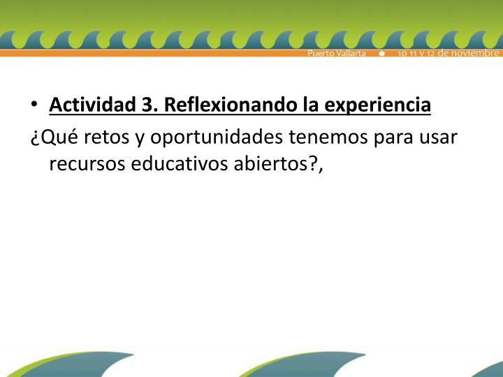Actividad 3. Reflexionando la experiencia