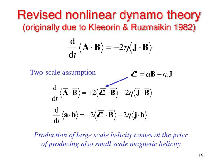 Revised nonlinear dynamo theory