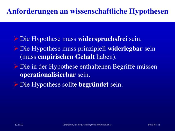 Anforderungen an wissenschaftliche Hypothesen